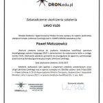 Zaświadczenie ukończenia szkolenia UAVO VLOS